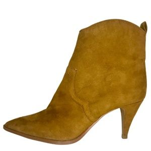 ZARA Short Camel Suede Ankle Boots Size 39 NEW